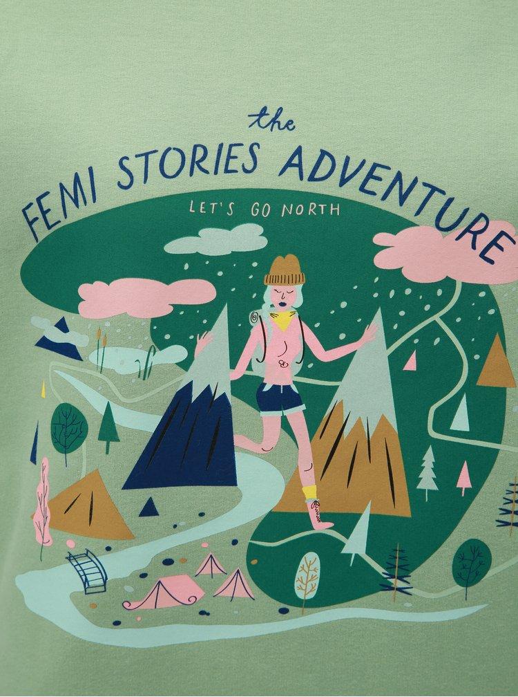Bluza sport mentol cu imprimeu Femi Stories