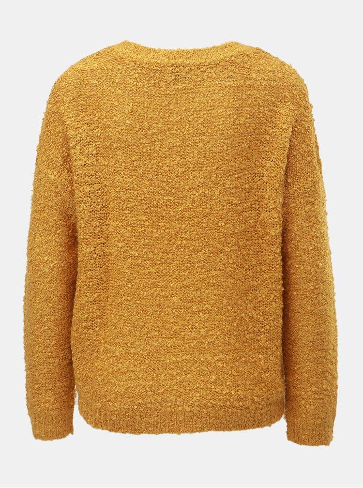 Horčicový tenký sveter s véčkovým výstrihom Jacqueline de Yong