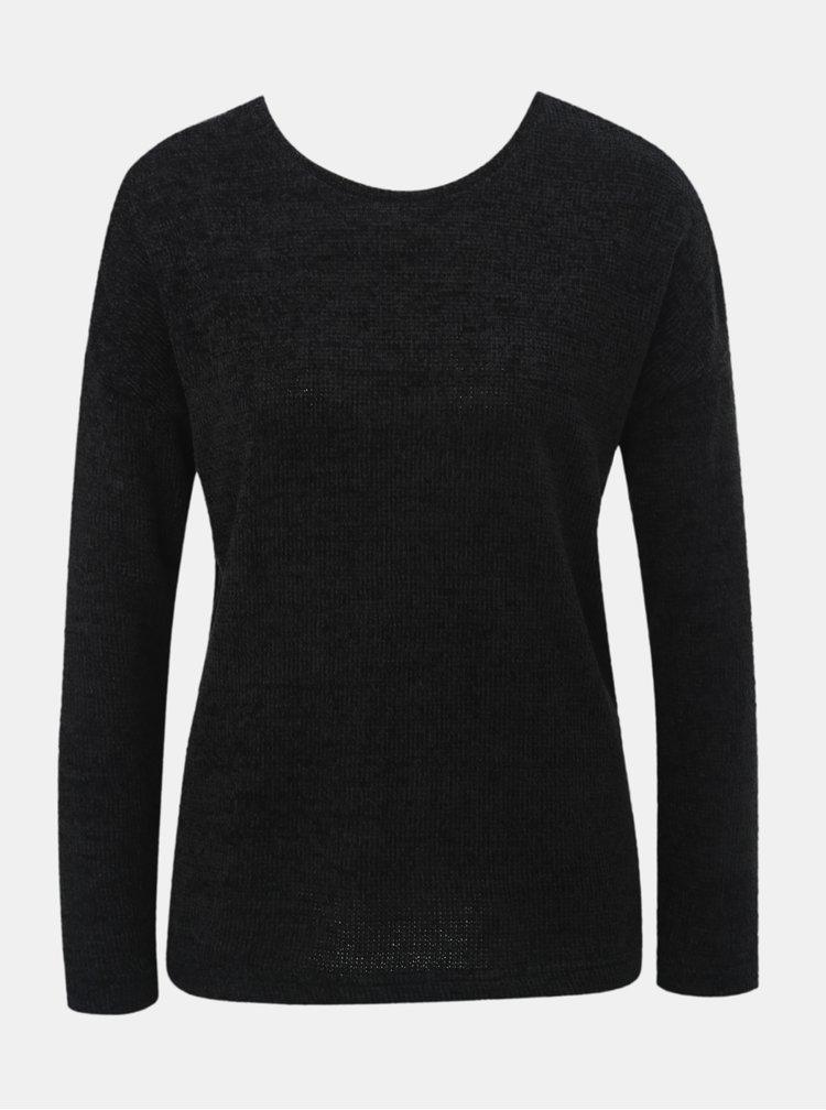 Čierny tenký sveter s mašľou za krkom ONLY Star