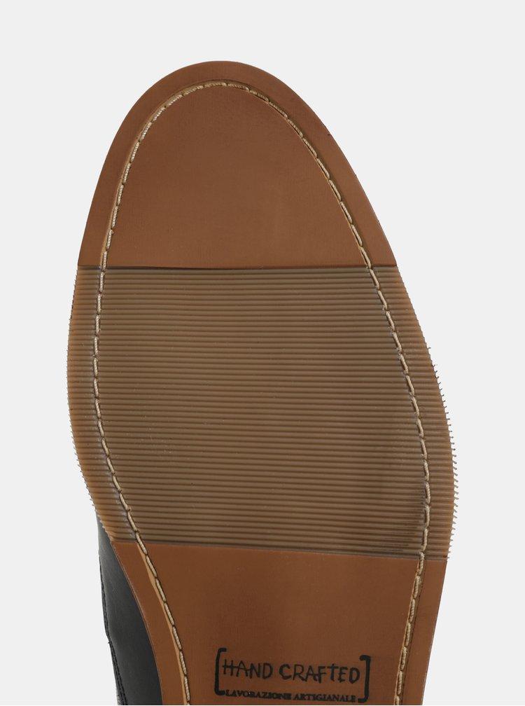 Tmavě modré pánské kožené kotníkové boty Bullboxer