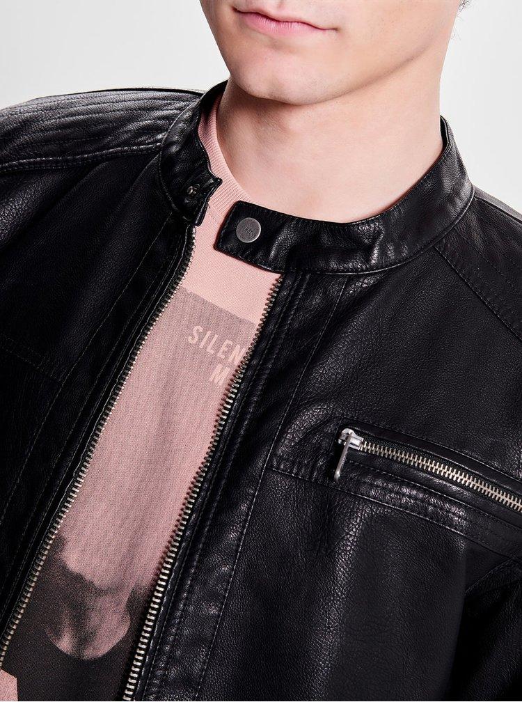 Černá koženková bunda ONLY & SONS Konrad