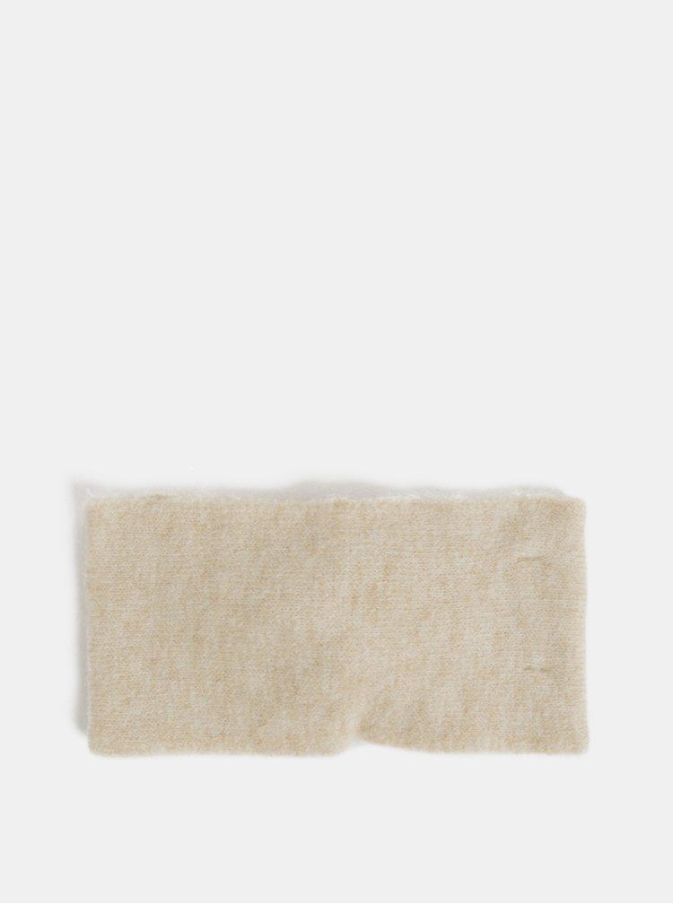 Krémová čelenka s uzlem a s příměsí vlny Pieces Kimmie