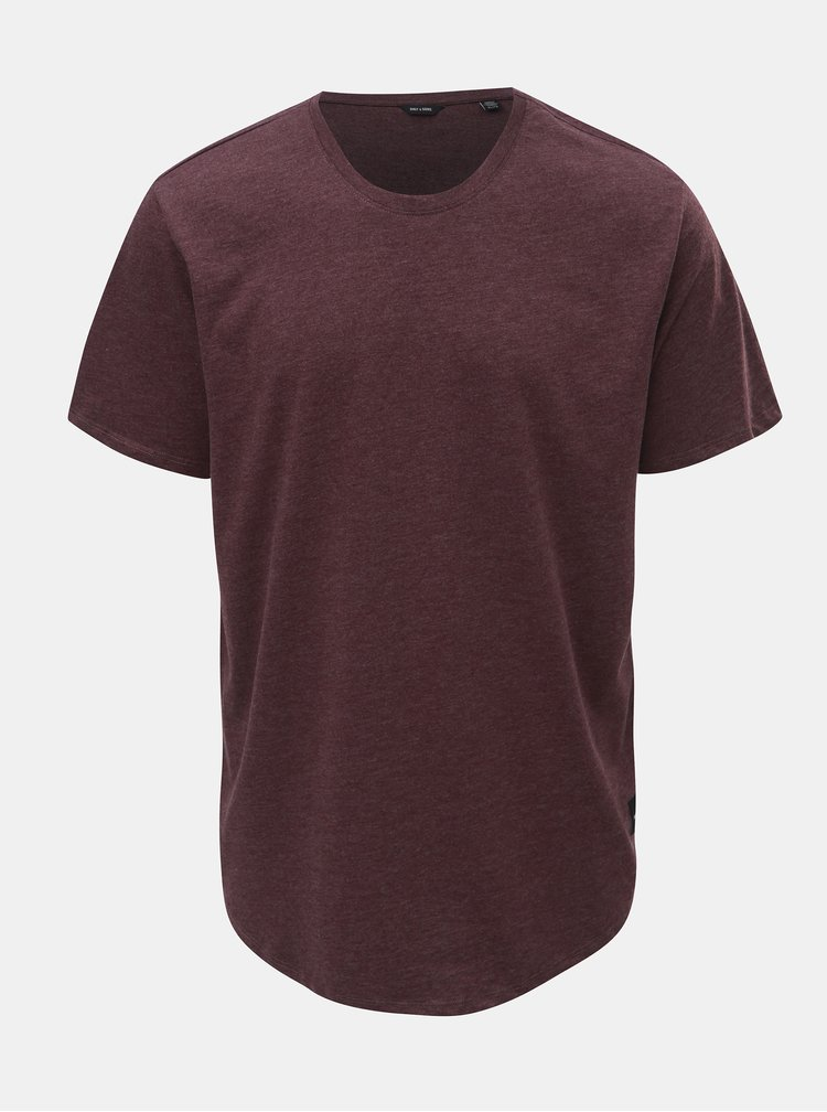 Tricou basic bordo melanj ONLY & SONS Matt