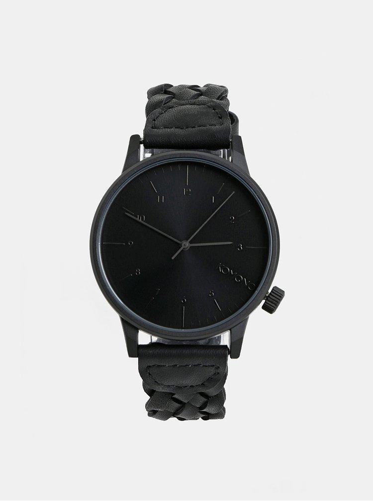 Pánské hodinky s černým koženým páskem Komono Harlow