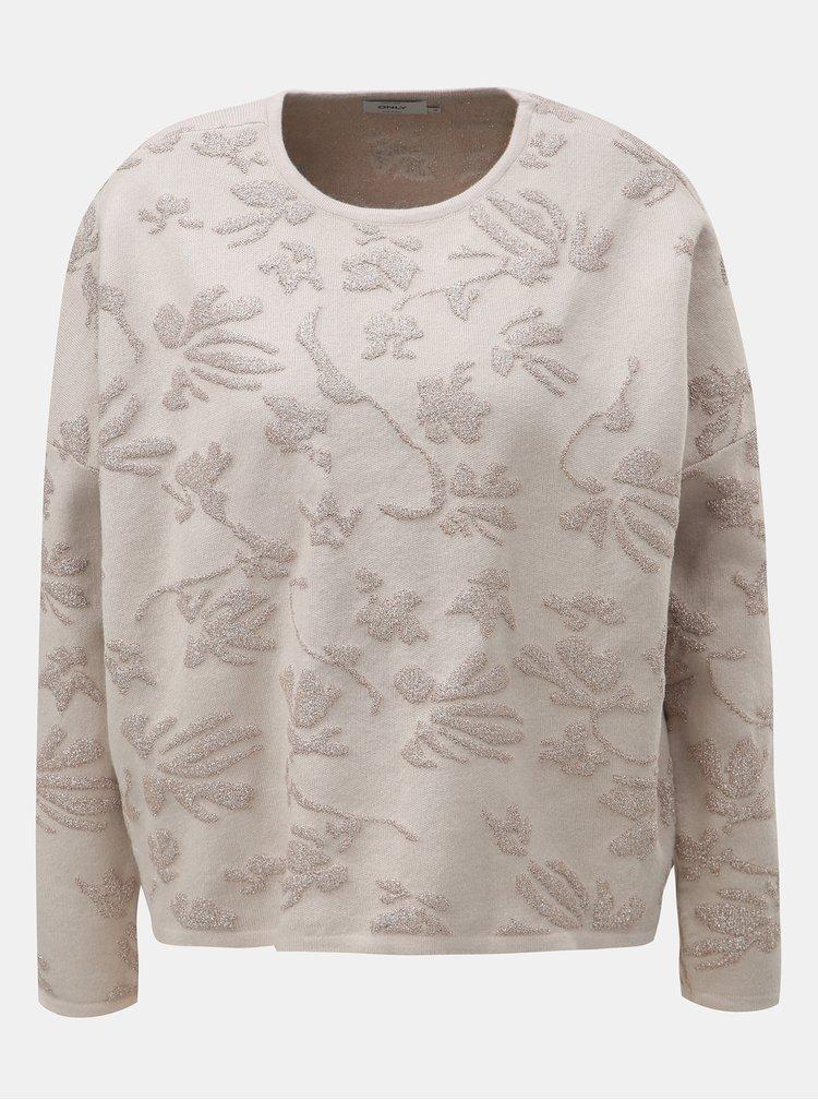 Krémový sveter s metalickým vláknom ONLY Molise