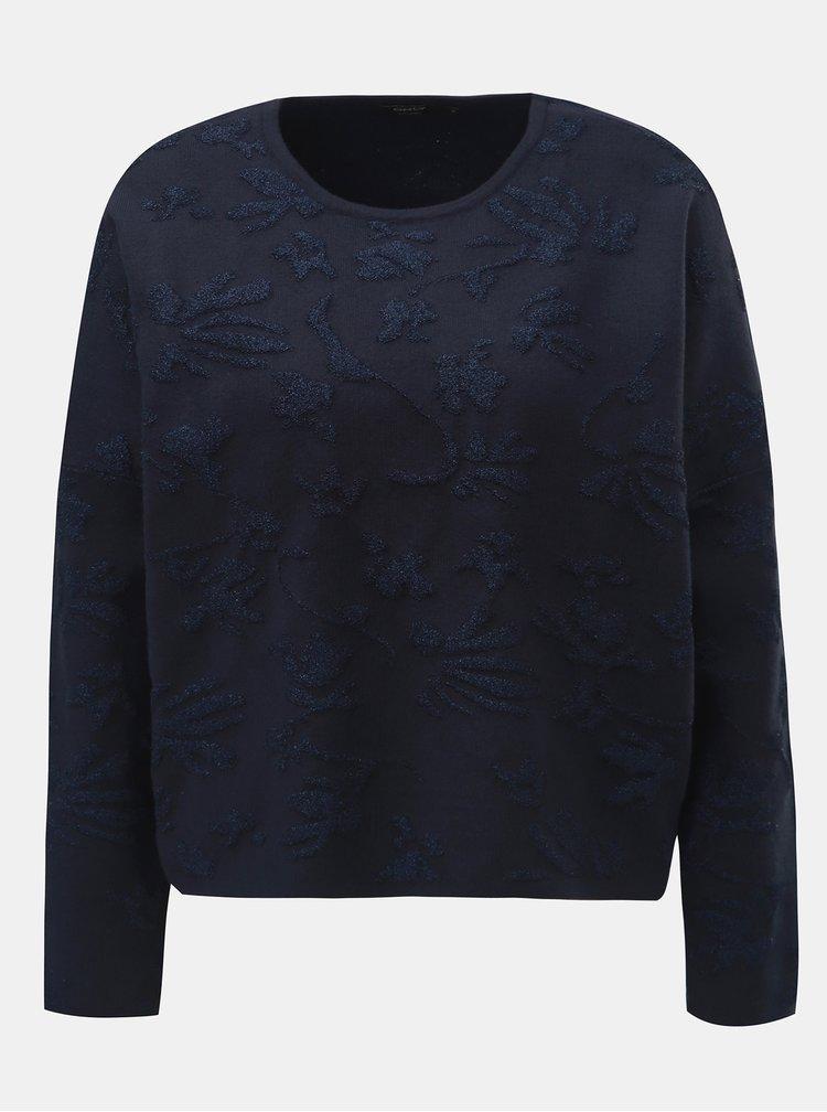 Tmavomodrý sveter s metalickým vláknom ONLY Molise