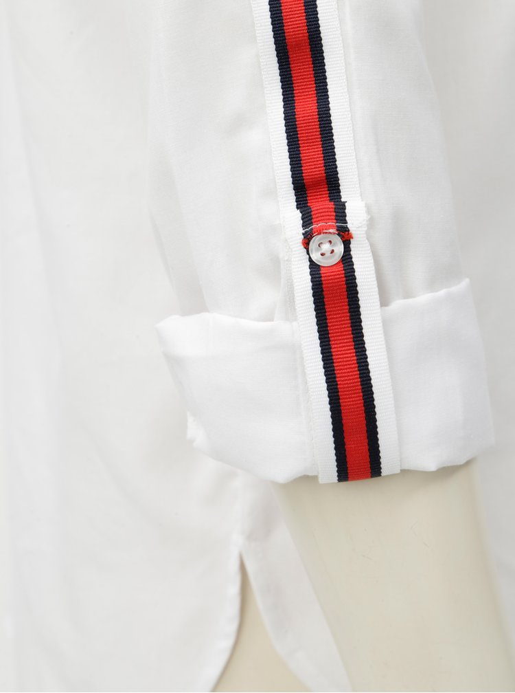 Camasa alba cu buzunar la piept si dungi rosii pe maneci Dorothy Perkins Tall