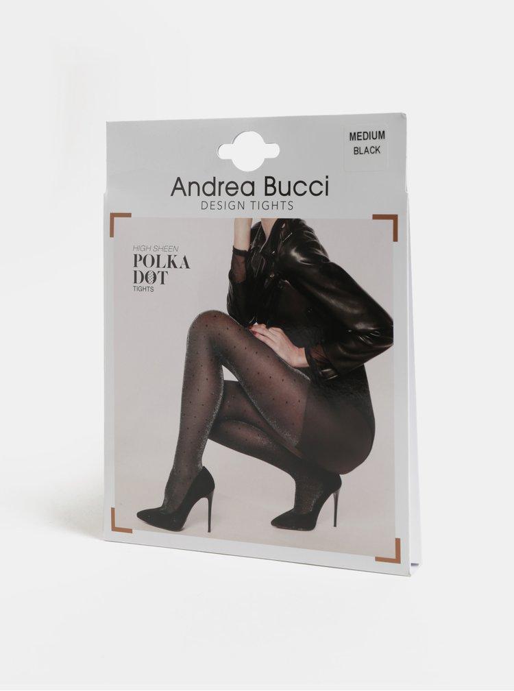 Černé puntíkované punčochové kalhoty s třpytivým efektem Andrea Bucci High Sheen Polka Dot
