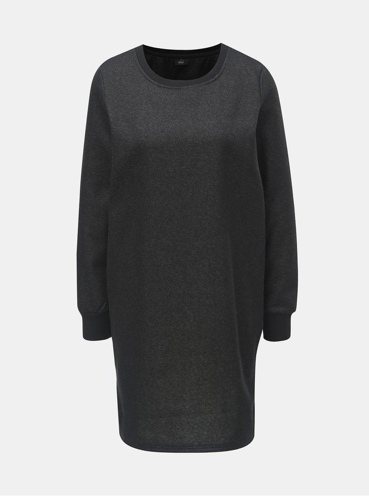 Čierne mikinové šaty s metalickým vláknom ONLY Luna