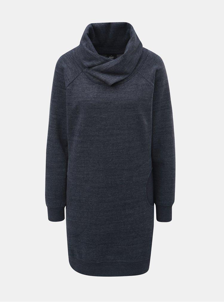 Tmavě modré žíhané mikinové šaty s límcem ONLY Laura