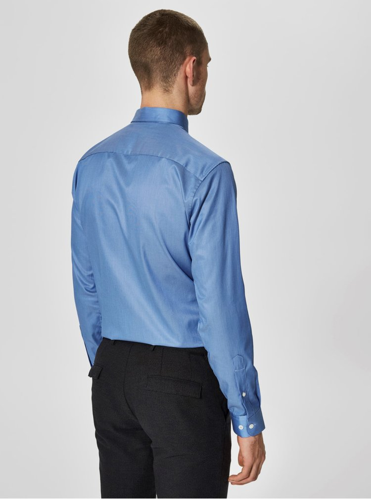Camasa slim fit albastra cu model discret -  Selected Homme One New