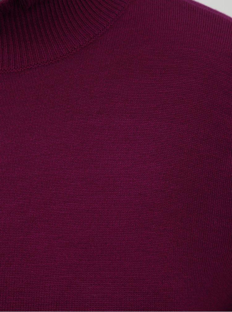 Rochie roz inchis tricotata cu guler inalt si maneci lungi ONLY Mila