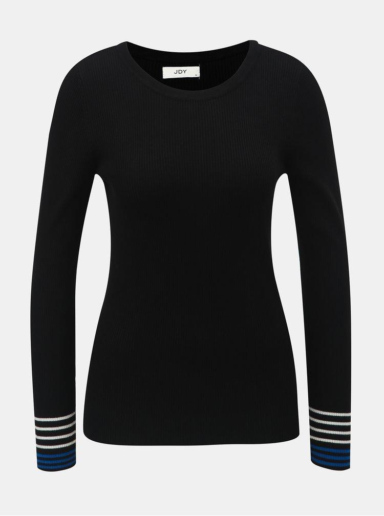 Pulover negru cu striatii si dungi pe maneci Jacqueline de Yong Tracy