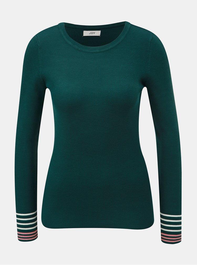 Tmavozelený rebrovaný sveter s pruhmi na rukávoch Jacqueline de Yong Tracy