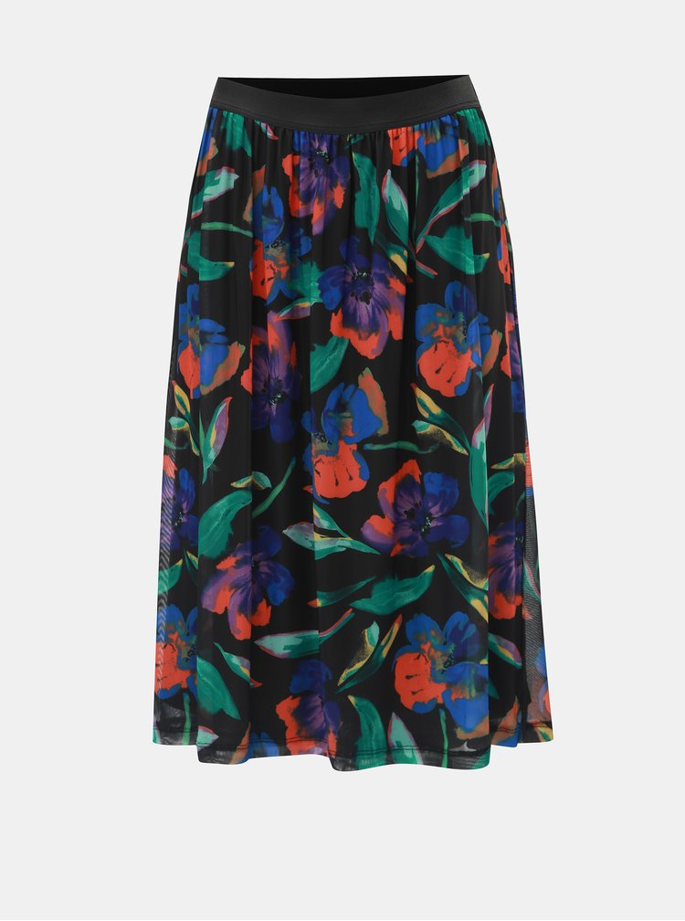 Černá květovaná sukně ONLY Chanell