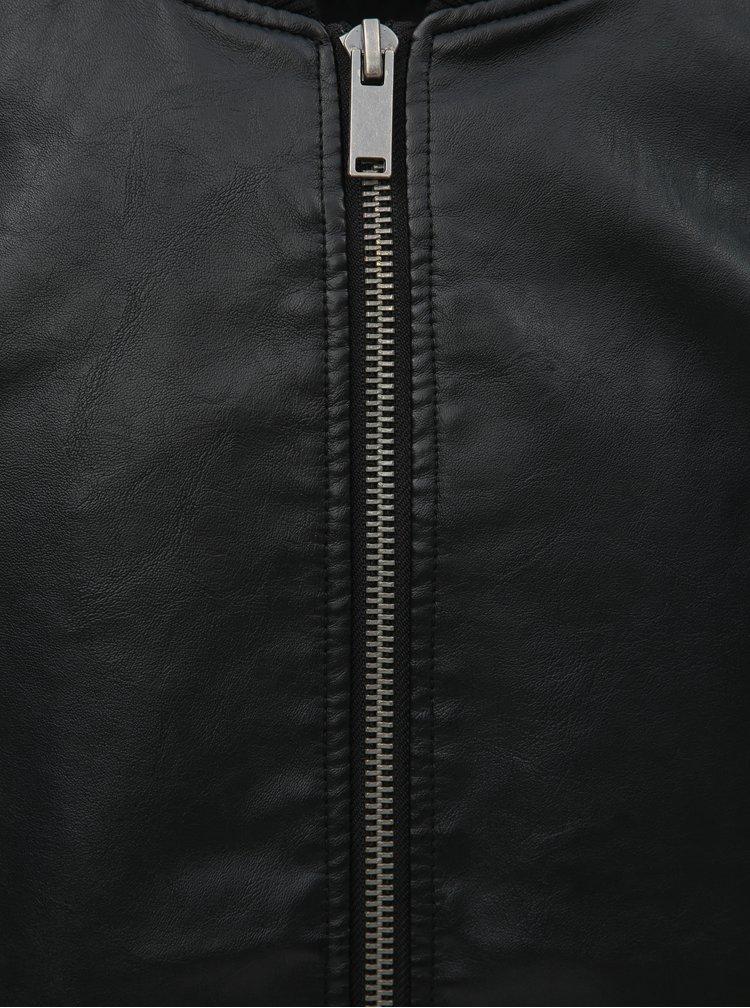 Černý koženkový bomber Burton Menswear London