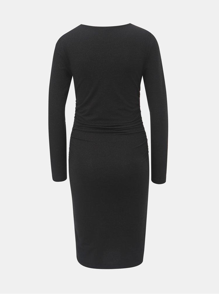 Černé pouzdrové šaty s řasením na bocích a se třpytivým efektem ONLY Roma