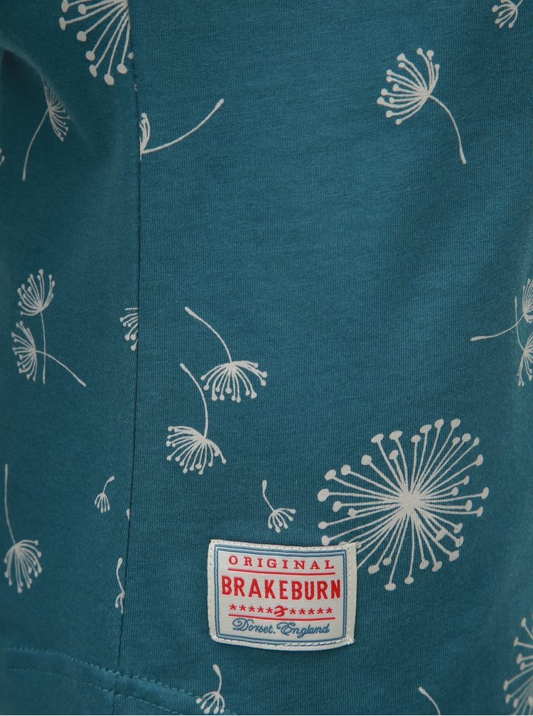 Tricou petrol de dama cu imprimeu si maneci lungi Brakeburn