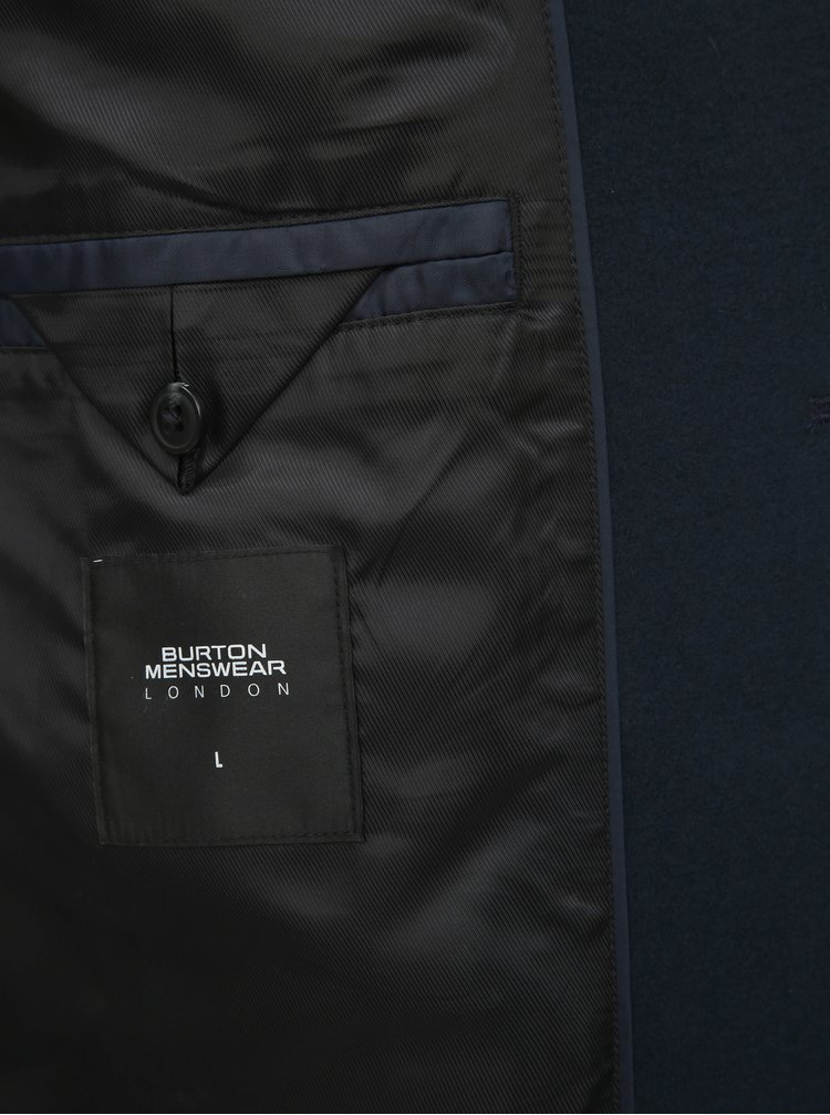 Tmavě modrý kabát Burton Menswear London Crombie