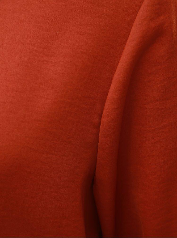 Bluza caramizie cu maneci lungi si decupaj la spate ONLY Mona