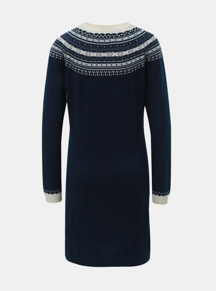 Tmavě modré svetrové šaty s norským vzorem Brakeburn