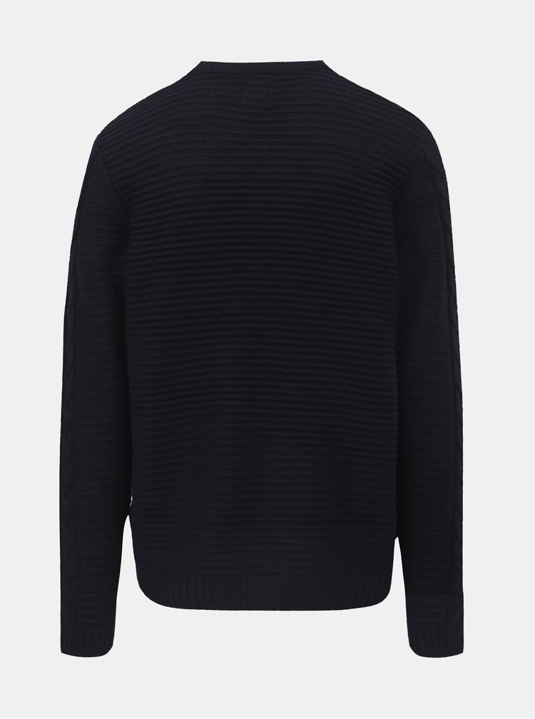 Pulover albastru inchis Burton Menswear London Cable