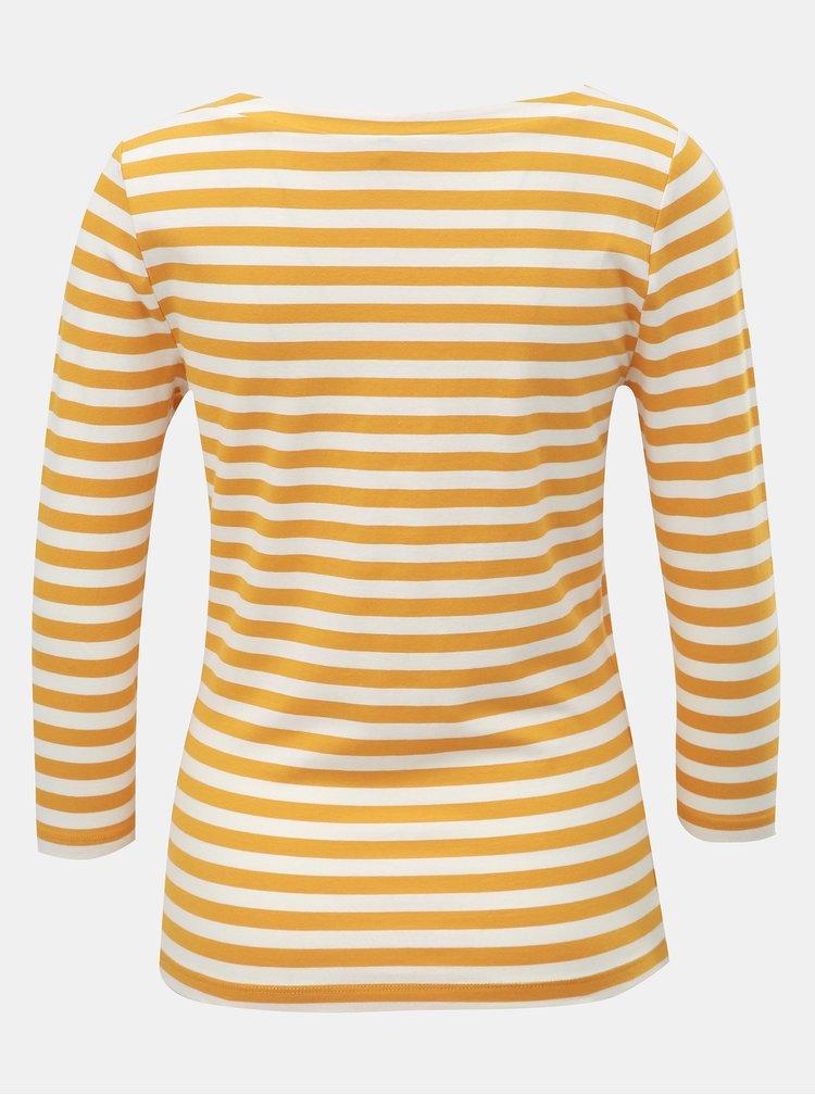 Bílo-hořčicové pruhované basic tričko s 3/4 rukávy ONLY Fifi