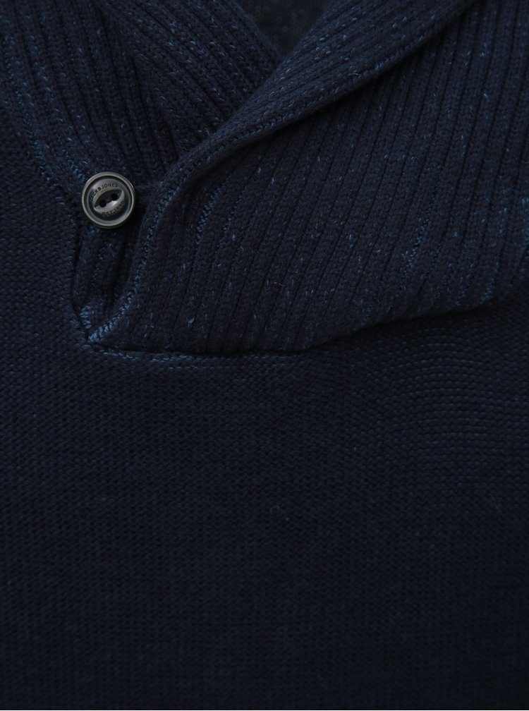 Pulover albastru inchis Jack & Jones Kaiden