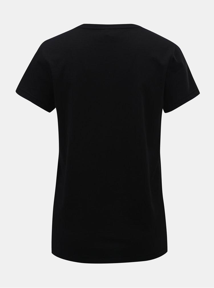 Čierne tričko s potlačou a krátkym rukávom ONLY Kita