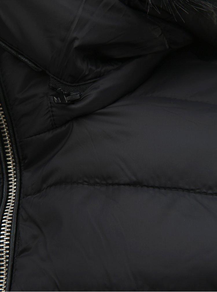 Černá zimní prošívaná bunda s odnímatelnou kapucí TALLY WEiJL Woven