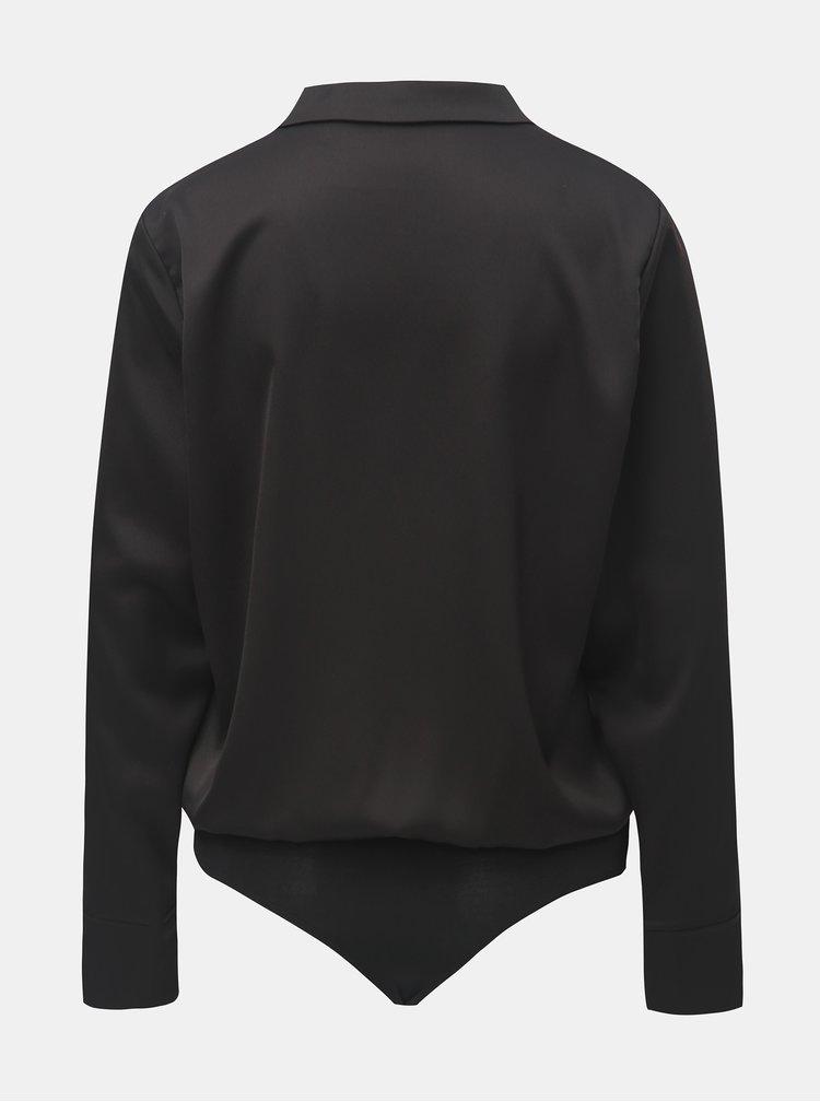 Černé body s dlouhým rukávem a límečkem ONLY Caya