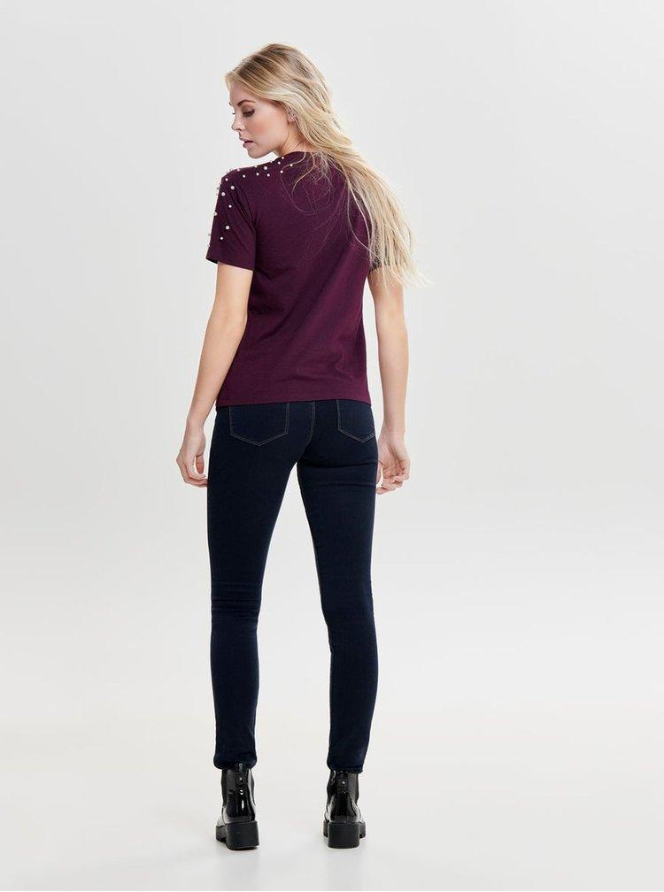 Fialové tričko s korálkovou aplikací Jacqueline de Yong Bugs