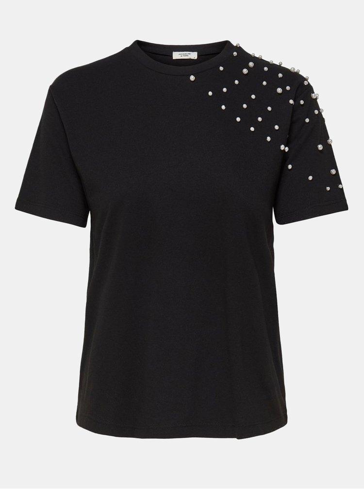 Tricou negru cu margele Jacqueline de Yong