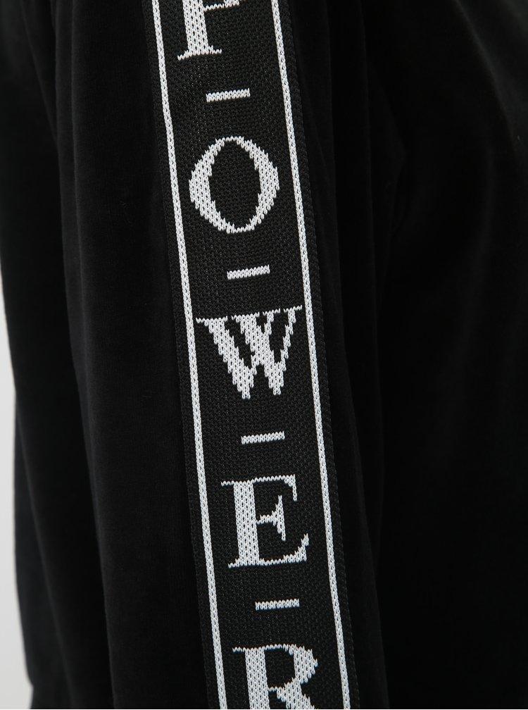 Čierna krátka zamatová mikina s pruhom na rukávoch TALLY WEiJL