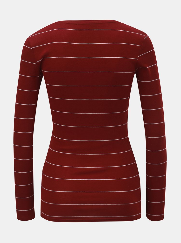 Vínové pruhované tričko s dlhým rukávom TALLY WEiJL