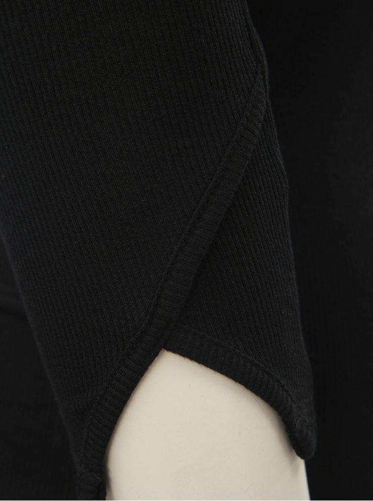 Černé žebrované basic tričko TALLY WEiJL