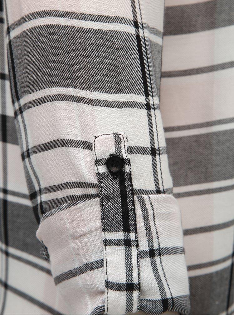 Camasa negru-alb tartan cu dantela pe umeri TALLY WEiJL