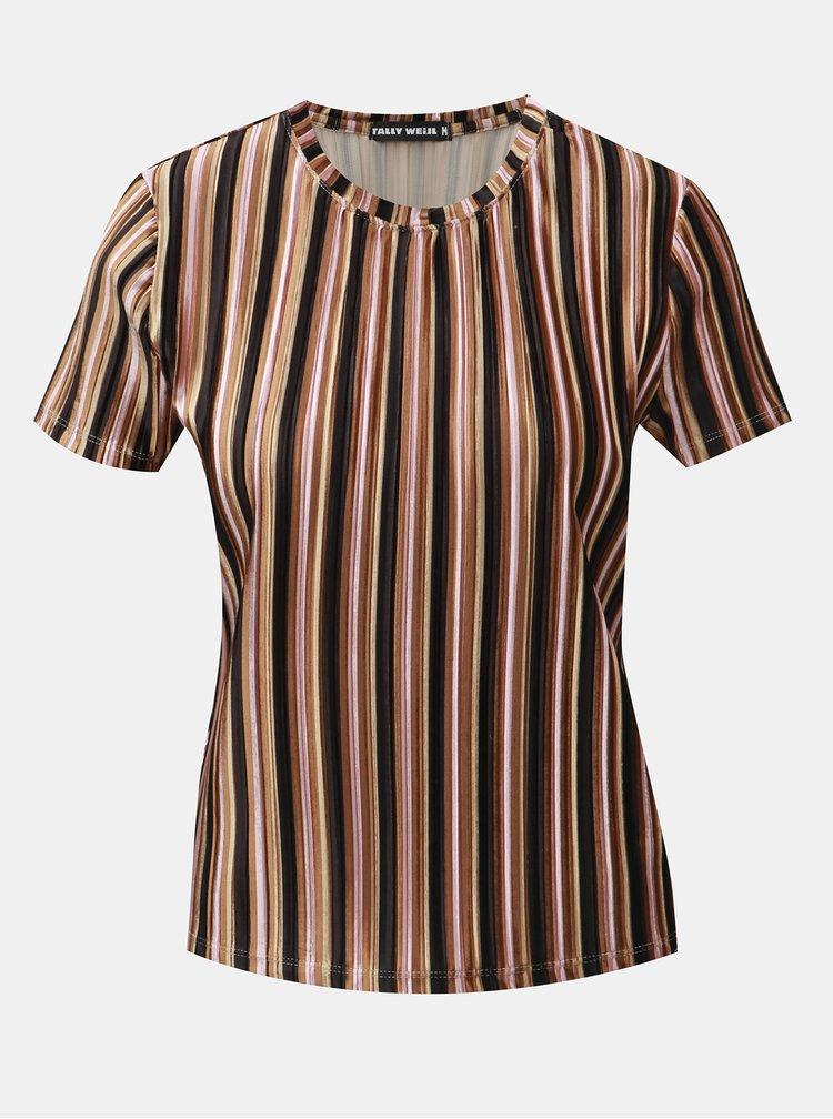Čierno–hnedé pruhované rebrované zamatové tričko TALLY WEiJL