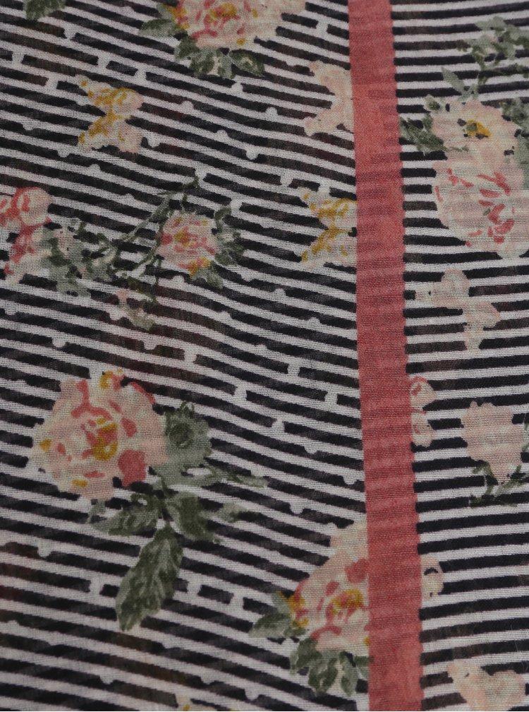Růžovo-modrý pruhovaný šátek s motivem růží Dorothy Perkins