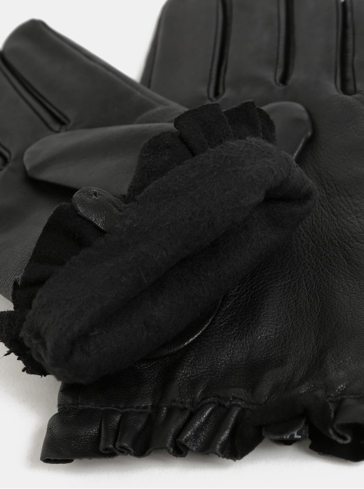 Černé kožené rukavice s volánkem Dorothy Perkins