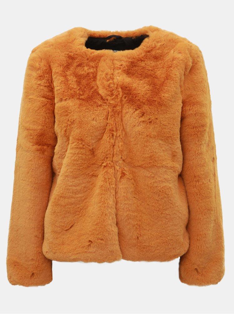 Hořčicový krátký kabát z umělé kožešiny TALLY WEiJL
