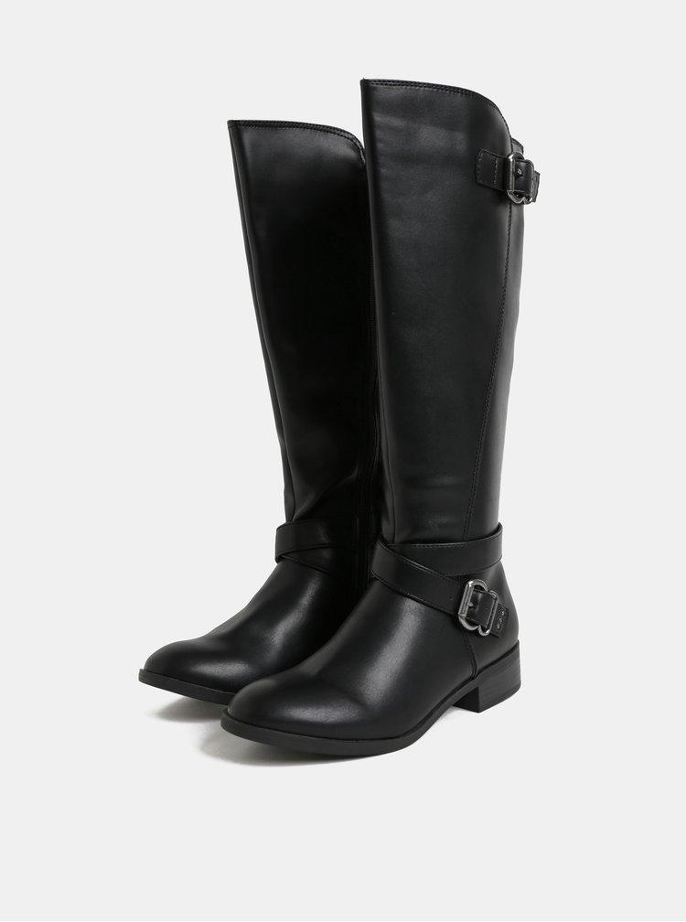 Čierne čižmy s prackami v striebornej farbe Dorothy Perkins