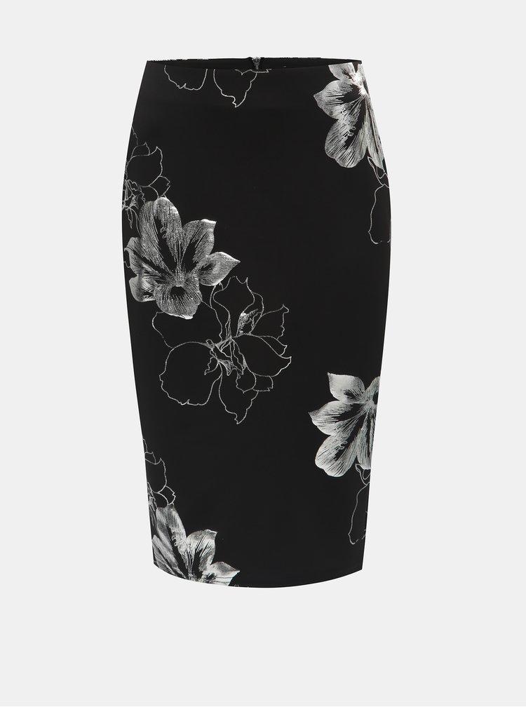 Strieborno–čierna kvetovaná puzdrová sukňa Dorothy Perkins