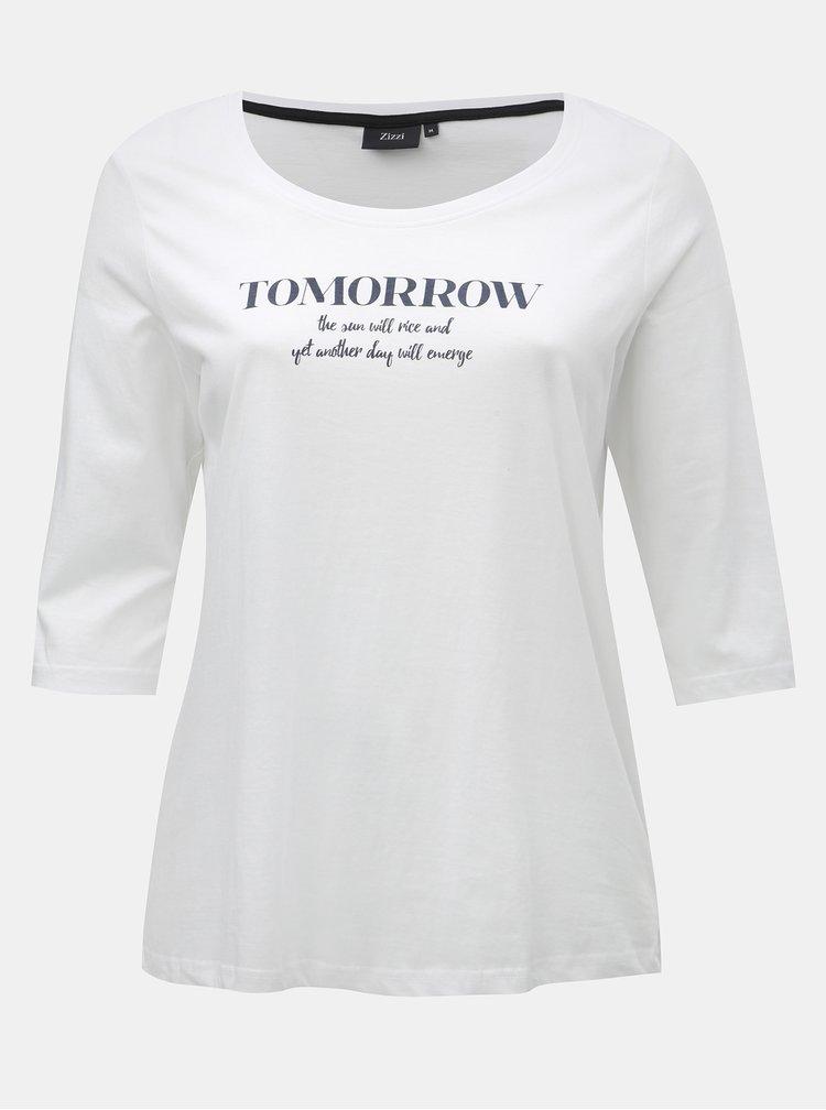 Tricou alb cu imprimeu si maneci 3/4 Zizzi