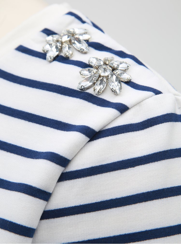 Bluza sport albastru-alb lejera in dungi cu detalii decorative pe umeri Dorothy Perkins