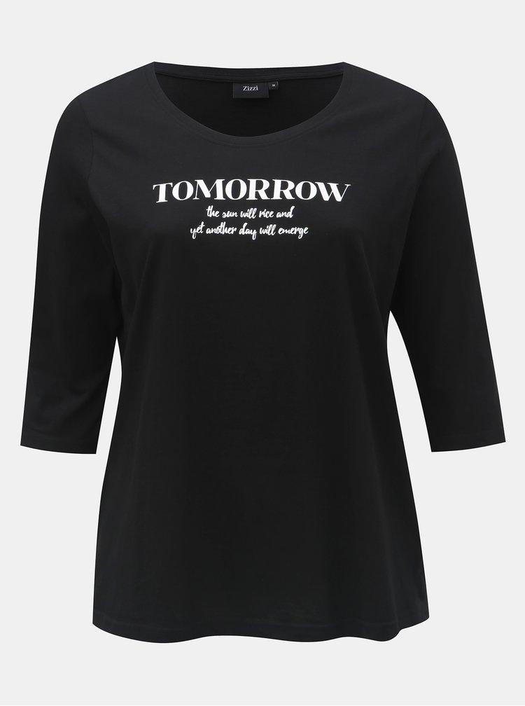Tricou negru cu imprimeu si maneci 3/4 Zizzi