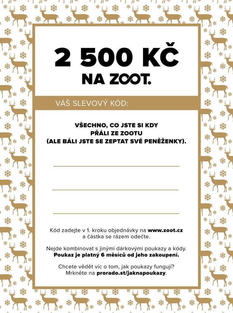 Vánoční elektronický poukaz na ZOOT v hodnotě 2500 Kč