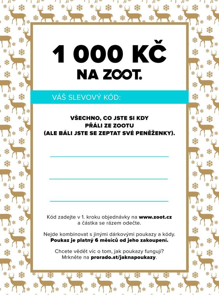 Vánoční elektronický poukaz na ZOOT v hodnotě 1000 Kč