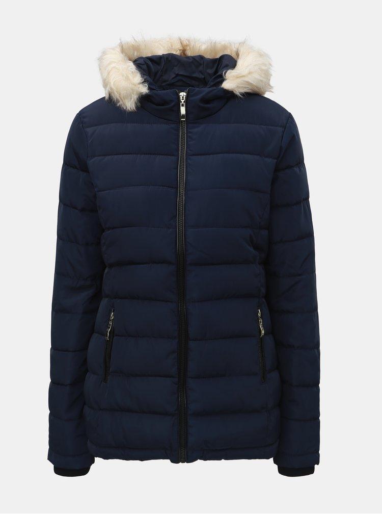 Jacheta albastru inchis matlasata de iarna cu blana artificiala Dorothy Perkins