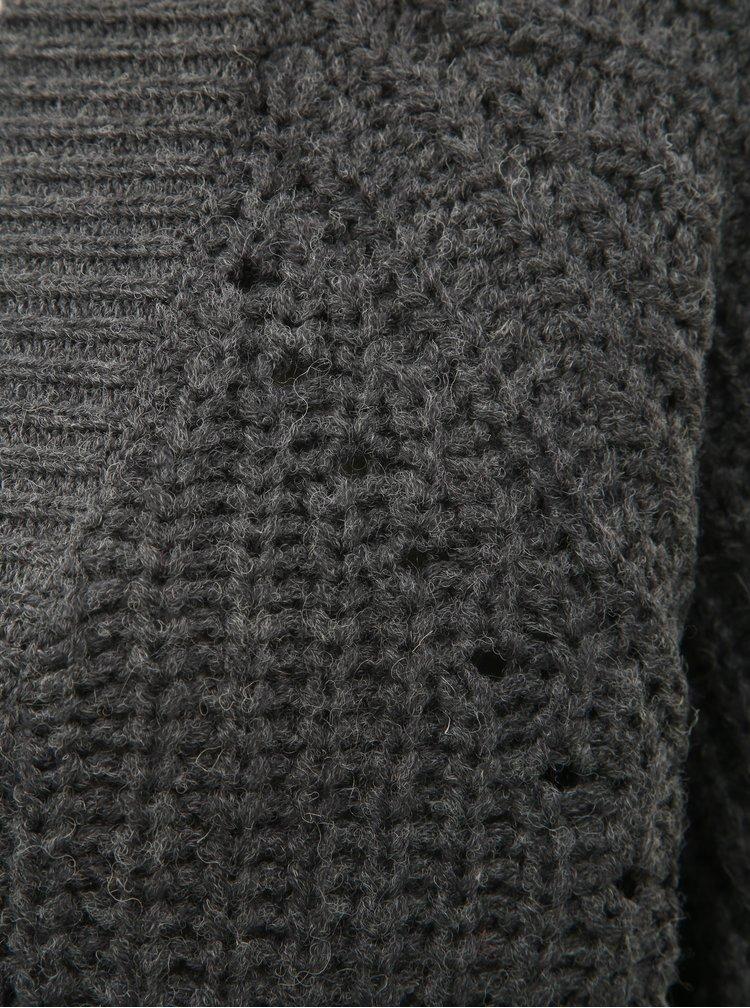 Tmavě šedý kardigan s příměsí vlny VILA Cabla